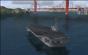 Aircraft carrier in default scenery, FSX